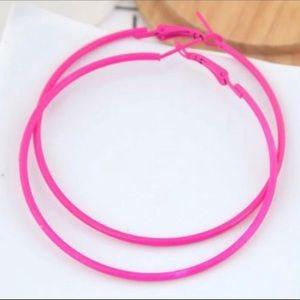 3/$20 ~ Large Hot Pink Hoop Earrings New